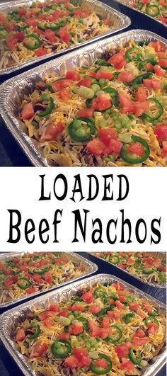 Make this loaded beef nachos recipe for your Super Bowl party. Serves a large crowd!