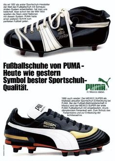 WC '86 PUMA advert: From the SUPER-ATOM to the MEXICO SUPER. (Source: Kicker)