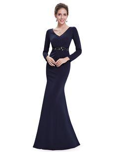 bc7114c05665 Ever Pretty Women's Elegant V-neck Ruched Long Sleeve Evening Dress 08639:  Amazon.