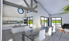 Maison poutres apparentes design contemporain La Chaume A single-storey house of 146 sqm that combines contemporary and elegant design with … Best House Plans, Exposed Beams, Healthy Living Tips, Elegant, Dining Bench, Sweet Home, Villa, Construction, How To Plan