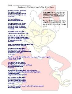 Rl 35 great barrier reef poetry with comparecontrast skill venn similes and metaphors with the grinch song ccuart Image collections