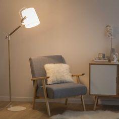 Lámpara de pie de metal y algodón blanco Al. 154cm GROENLAND