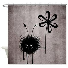 Black Evil Flower Bug Shower Curtain $57.99 #showercurtain #gothic #decor #bathroom