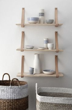 Leather strap wooden shelving by Hubsch | LO+BEHOLD