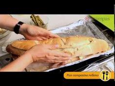 Pan campesino relleno con pollo, queso y espárragos - YouTube