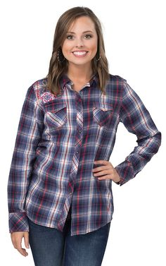 Ariat Women's Ashley Navy, Red and White Plaid with Floral Embroidery Long Sleeve Western Shirt   Cavender's