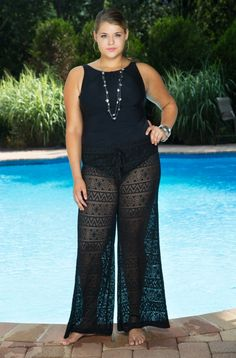 The latest trend in swimwear cover ups - our plus size beach pants have arrived! Stylish and cool are these wonderful new Always For Me Cover Aztec Crochet Pants style #211315W. Choose from your basi