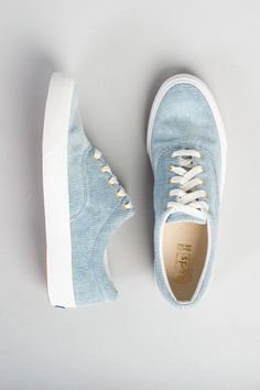 Take a stroll in our Keds Corduroy Sneakers! Feature a lace-up design with a corduroy material. Try in either mustard or light blue. Retro Sneakers, Blue Sneakers, Keds Shoes Outfit, Cute Shoes, Me Too Shoes, Light Blue Shoes, All Nike Shoes, Everyday Shoes, Leather Wedges