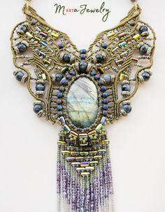 Labradorite macrame necklace unique micro-macrame jewelry