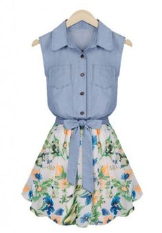 Floral Printing Lapel Denim Splicing Chiffon Dress