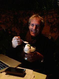 Michael Bolton having his favourite dessert....coconut sorbet !!