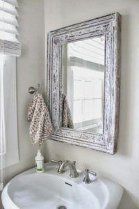 Distressed White Bathroom Mirror
