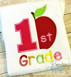 1st Grade Apple Applique - 4 Sizes!   What's New   Machine Embroidery Designs   SWAKembroidery.com Creative Appliques