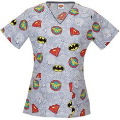 DC Comics Women's Fashion Collection Super Heroes V-Neck Scrub Top, Gray Pediatric Scrubs, Pediatric Nursing, Top Superheroes, Medical Scrubs, Nursing Scrubs, Veterinary Scrubs, Stylish Scrubs, Dc Comics Women, Cute Scrubs