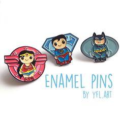 3 pins- Wonder Woman, Batman and Superman Enamel Pin SET - Lapel Pins- Superhero Enamel Pins