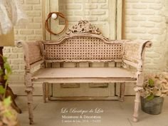 Shabby French loveseat Pink distressed Caning by AtelierdeLea