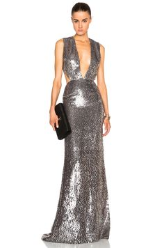 Image 1 of KAUFMANFRANCO Deep V Gown in Heather & Silver