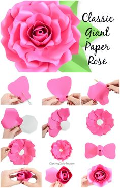 How to make giant paper roses. Use scissors with these printable paper rose template or use the SVG cut files with How to make giant paper roses. Use scissors with these printable paper rose template or use the SVG cut files with Free Paper Flower Templates, Paper Flower Patterns, Paper Flowers Craft, Large Paper Flowers, Paper Flower Wall, Paper Flower Backdrop, Templates Printable Free, Flower Crafts, Paper Crafts