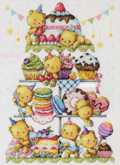 Cross Stitch Pattern Chart  Sweet Bears - G58 Large size Chart  W 149 count × H 211 count ---------------------------------------------------------- OR ----------------------------------------------------------  Teddy Bear Bakery G77 Large size Chart  W 278 count × H 115 count  Contains color chart with symbols and Floss conversions for DMC, ANC and Yeidam.  You will receive a Original Design of Counted Cross Stitch Pattern Chart * If you want FREE SHIPPING of this item- combine shipping…