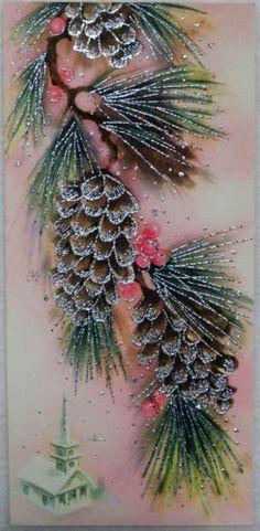 #698 50s Unused Glittered Pinecones-Vintage Christmas Greeting Card