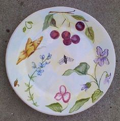 ZRIKE FLORAL GREEN SALAD FLORA PLATE BUTTERFLY CHERRY CLUSTER FREE SHIPPING