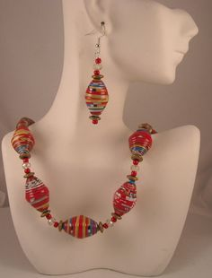 Red Multicolor Handmade Paper Beads Crystal Bead Spacers Gold Hematite Spacers Beaded Necklace and Dangle Earrings Set