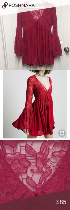 Free People // Bell Sleeve Dress Only worn twice. Great condition. It's a reddish/pink color and has a sheer floral embroidered bodice, v-neckline with a dramatic bell sleeve, buttondown closure detailing and a swingy pleated skirt. Comes with the under piece to make it not see through. It is an XS, but fits more like a small in my opinion. Free People Dresses Mini