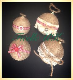 Handmade twine tree decorations