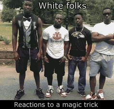 How white people and Black people react to a magic trick [ANIMATED GIF]