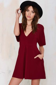 Nasty Gal Carrie Pleated Dress - Burgundy - Fit-n-Flare | Dresses
