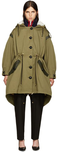 Burberry - Green Shearling-Trimmed Parka