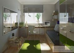 habitacion juvenil verde 3 500x360 Habitaciones Juveniles de Studio Cafe