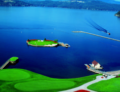 Coeur d'alene, Idaho. Coeur d'Alene Resort has a  floating gold course! As well as skiing, lake cruises, a spa, and great dining. I want to try this place! http://www.cdaresort.com/