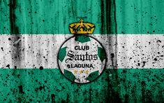 Download wallpapers 4k, FC Santos Laguna, grunge, Liga MX, soccer, art, Primera Division, football club, Mexico, Santos Laguna, stone texture, Pachuca FC