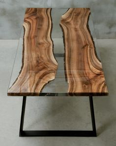 Custom epoxy table made of two walnut slabs, crystal transparent UV resin table, live egde table for modern living room, conference table. Wood Resin Table, Wood Table, Dining Table, Center Table Living Room, Rustic Wooden Shelves, Walnut Slab, Woodworking Inspiration, Live Edge Table, Conference Table