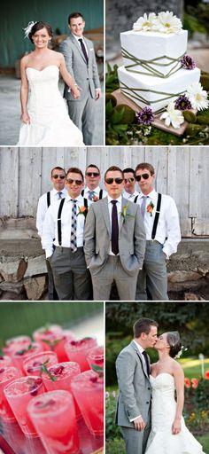 Cute wedding + boys in suspenders!