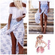 """Sexy Wrap Boho Print Maxi Skirt Beautiful white boho print wrap front maxi skirt. Pair it with a tank top, crop top or off the shoulder boho top. Made of polyester. High waist with elastic waistband. Asymmetrical hemline. One size fits most -  PRICE FIRM - NO TRADES  Measurements  Waist 27.5"""" ~ 38"""" Hips 36"""" ~ 47"""" Length 39"""" Bchic Skirts Maxi"""