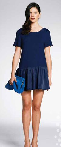 Minty Meets Munt Navy Drop Waist Dress - A great casual piece with beautiful contrasting materials $89 Drop Waist, Contrast, Cold Shoulder Dress, Navy, Casual, Beautiful, Collection, Dresses, Fashion