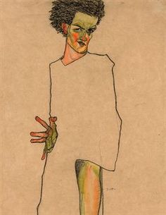 Egon Schiele (1890-1918),  Selbstbildnis   signed with the initial 'S' (lower left); signed again with the initial and dated 'S.10.' (lower right)  watercolour and charcoal on paper   17 7/8 x 12 in. (45.2 x 30.5 cm.)   Executed in 1910, Christie's auction