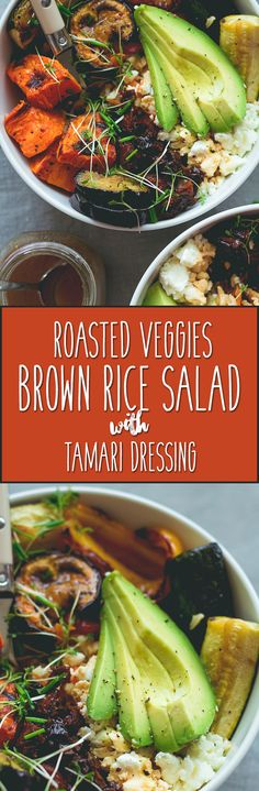 Brown Rice Salad Bowl with Roasted Veggies & Tamari Dressing - not your average boring salad! Roasted veggies, sweet potatoes, brown rice, lettuce, sundried tomatoes, goats cheese, and avocado with sweet & sour tamari dressing. Easy to make and absolutely scrumptious!   thehealthfulideas.com