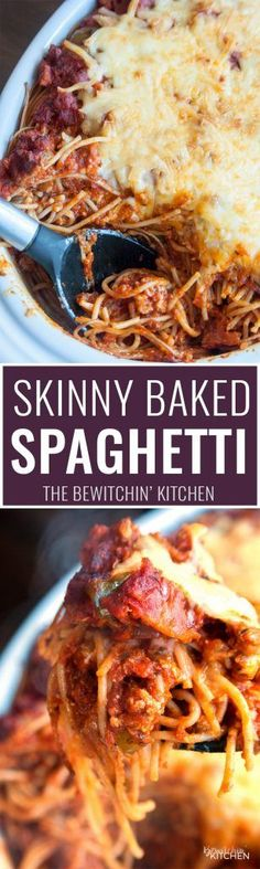 This skinny baked spaghetti recipe is a lightened up version of a classic spaghetti casserole. Both healthy and hearty, this wholesome dinner recipe favorite uses ancient grain pasta and the best spaghetti sauce ever. This sauce has tons of vegetables, li