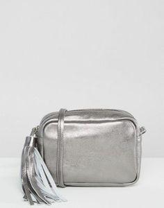 540b2ae7398 ASOS Metallic Leather Cross Body Bag With Tassel Metallic Leather