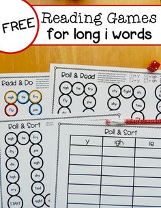Free long i reading games for y, ie, and igh words – The Measured Mom Free long i reading games for y, ie, and igh words – The Measured Mom Vowel Activities, First Grade Activities, Spelling Activities, Learning Activities, Spelling Worksheets, Spelling Games, Library Activities, Preschool Lessons, Word Games