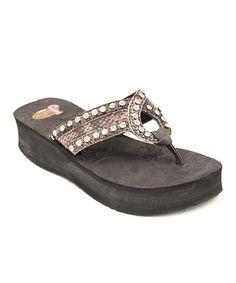 36bc793bc4e7 Justin Boots Black Riley Platform Flip-Flop - Women