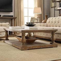 Inspire Q Edmaire Rustic Baluster Weathered Pine Coffee Table