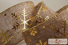 Karácsonyi juta szalag - natúr, arany hópelyhes - 38mm x 6,4m - Valex Decor Kft.   Virágkötészeti kellékek és dekorációk webáruháza