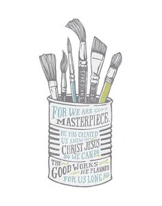 Masterpiece, Paint Brushes, Paint Can, Christian Gifts, Ephesians 2:10, Bible Print, Scripture Art,