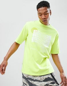 ANTIMATTER | Antimatter T-Shirt In Yellow With Checkerboard Graphic
