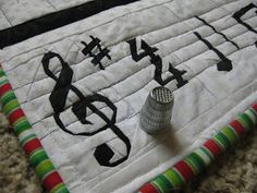 Music themed, paper piecing, wall hanging (detail)