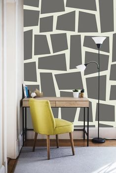 The Rumini design is part of the textures and pattern collection. Grey Feature Wall, Painted Feature Wall, Feature Wall Living Room, Gray Painted Walls, Home Wall Painting, Creative Wall Painting, Wall Painting Design, Bedroom Wall Designs, Living Room Designs